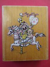 large JODY BERGSMA jb051 stamp oasis carousel horse clown rubber stamp