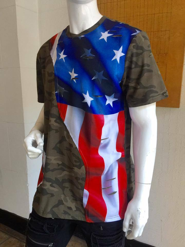 Men's Camo American Flag Tee Shirt by Hudson