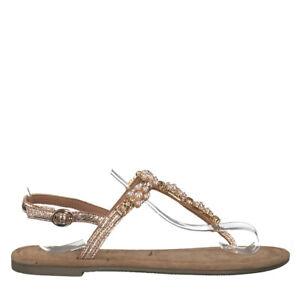 Details zu Tamaris 1 1 28152 22 952 Schuhe Damen Leder Sandalen Zehentrenner rose metallic