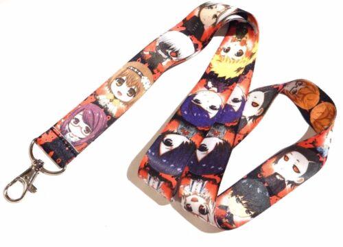 KAWAII TOKYO GHOUL LANYARD Ken Kaneki Touka chibi anime manga neck strap keys 4V