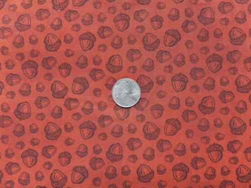 HARVEST COLLAGE fabric Acorns on Rust BTR7270 by Blank Quilting by the 1//2 YARD