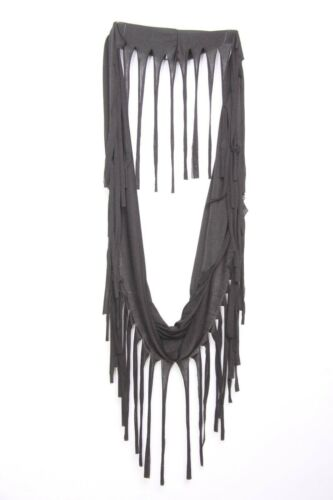 s112 Black Slouchy Everyday Casual Cowl Snood Scarf W Long Tassels