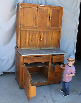 Antique Oak Hoosier Kitchen Cabinet Ebay