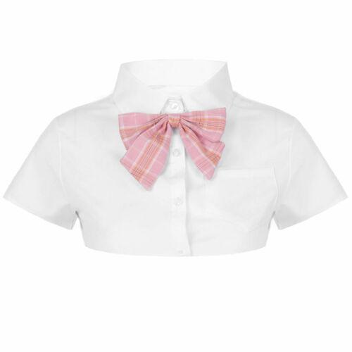 Women Lace-up Polka Dot Detachable Collar Dickey Blouse Half Shirt Soft Clothes