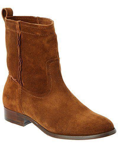 Frye Cara Short Suede Western Ankle bota Talla 6.5 Wood marrón