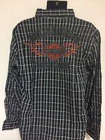Harley-davidson Men's L/s Button Plaid Flames Shirt 99006-16vm Large