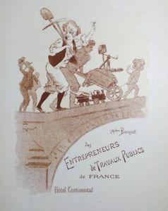 Menu-Hotel-Continental-Paris-1898-Rare-Lithographie-Entrepreneur-Travaux-Publics