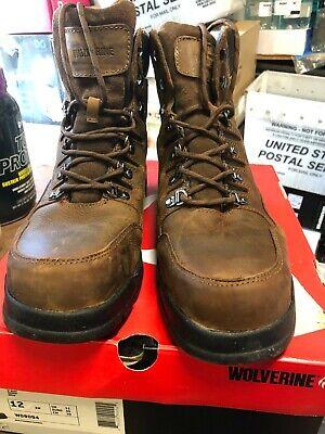 """Wolverine Men/'s 6/"""" Work Boot Waterproof Brown Leather Sz 11.5 EW"""