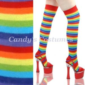 RAINBOW-Thin-Stripe-OVER-THE-KNEE-Costume-SOCKS-Bright-THIGH-HIGH-Roller-Derby
