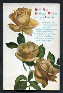 Posted C1920s Birthday Card Yellow Roses Best Wishes To My