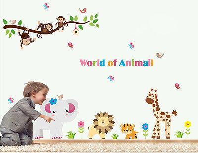 World of Animals Children/'s Wall Art Stickers Huge Sheets
