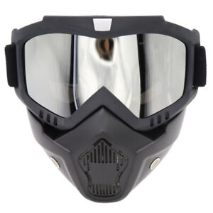 Detachable Flexible Goggles Face Mask Shield Protective Motorcycle Helmet Ski Us Ebay