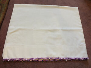 Collectible-Pillowcase-White-Multi-Purple-Tatted-Trim-31-x-21-NICE