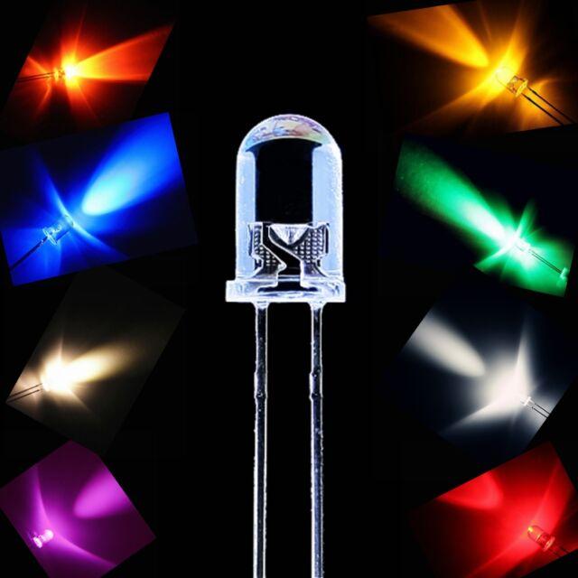 Superhelle LED 3mm 5mm Leuchtdioden LEDs Modellbau 8x Farben Frei Auswahl DIY