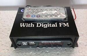 Mini Stereo Audio Amplifier MP3 Music Player USB, FM Radio, Aux IN & Remote 12 V