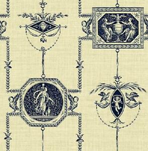 Wallpaper-Designer-Navy-Blue-French-Toile-on-Cream-Faux-Birds-Cherubs-Angels