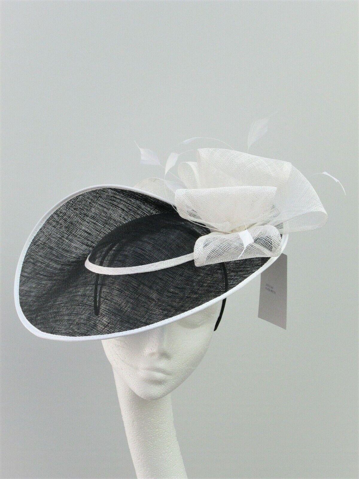 Black & Off White Disc Fascinator - Wedding, Ascot, Races