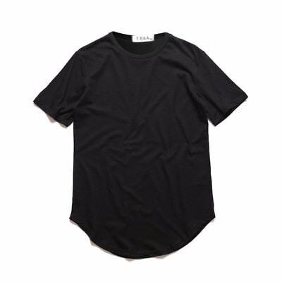 Homme  basic Noir Blanc T-shirt long ÉTENDU décontractée ras de cou Hip Hop mode