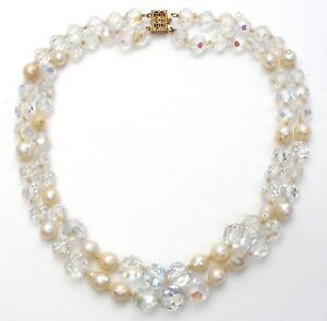 fe00135a9e2d Perla de Agua Dulce   Ab Cristal Collar Cuentas Anudado Plata Ley ...