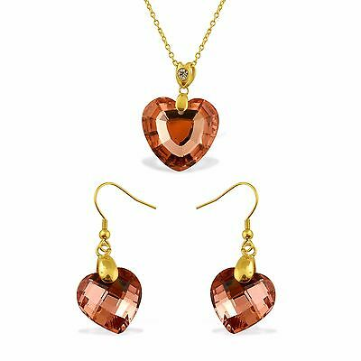 Pink Heart Pendant and Earrings Set  Austrian Crystal Large