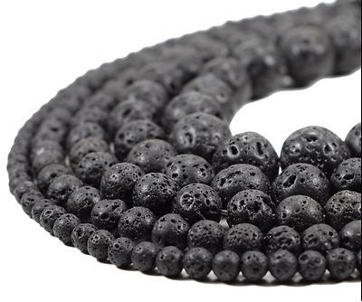 "Natural Black  Lava Beads Stone Volcanic Rock Gemstone Wholesale 4//6//8//10mm 15/"""
