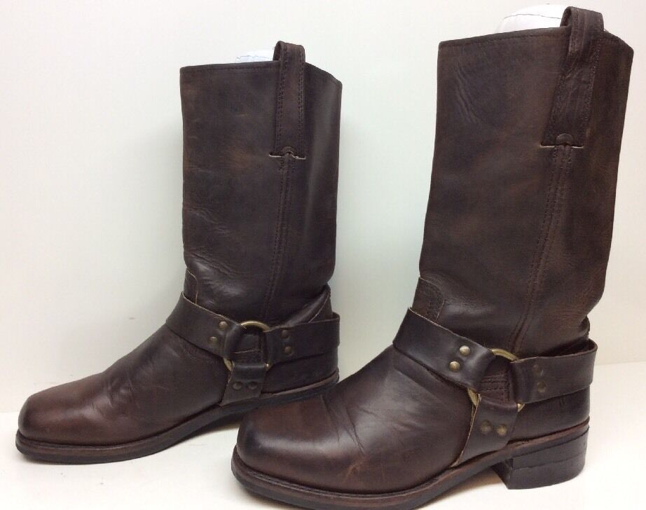 E MENS FRYE HARNESS MOTORCYCLE LEATHER DARK BROWN BOOTS SIZE 8.5 M