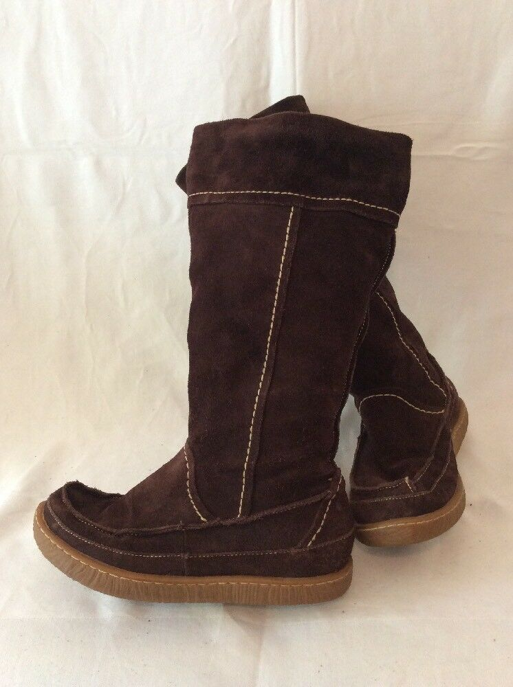 Hush Puppies Dark Brown Mid Calf Suede Boots Size 3