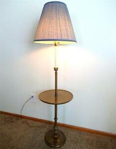 Vintage wood floor lamp with round table and blue shade ebay for Used wood floor lamp