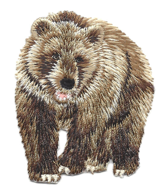 BROWN BEAR - GRIZZLY - WILD ANIMAL - FOREST/Iron On Embroidered Applique Patch