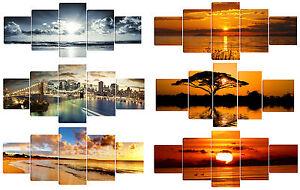 Quadro moderno alba tramonto testata letto salotto stampa tela 5pz 80x2 metri ebay - Quadro testata letto ...