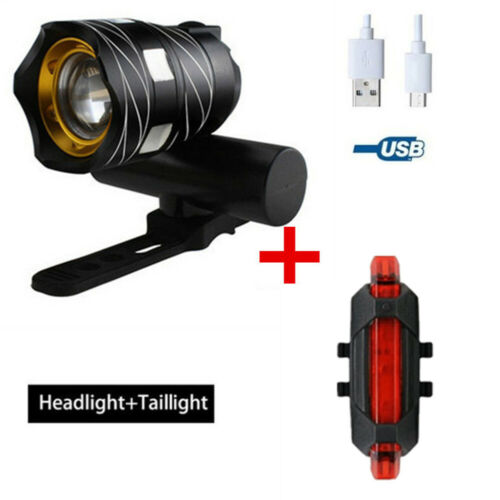 2Pcs 15000LM T6 LED MTB Bicycle Light Bike Rear Front Headlight USB Rechargeable