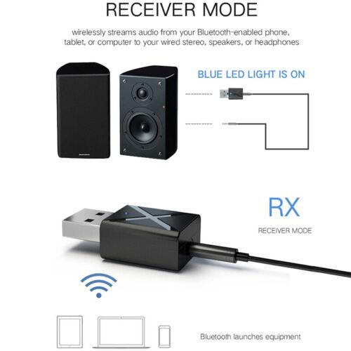 Car 2-in-1 Transmitter Receiver Wireless Audio USB Bluetooth FM Adapter 5 SL