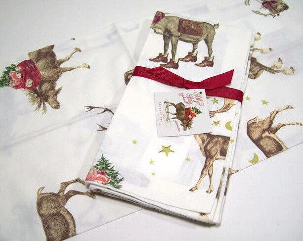 Pottery Barn Christmas.Pottery Barn Christmas Holiday Silly Stag Reindeer Deer Dinner Napkins Set Of 4