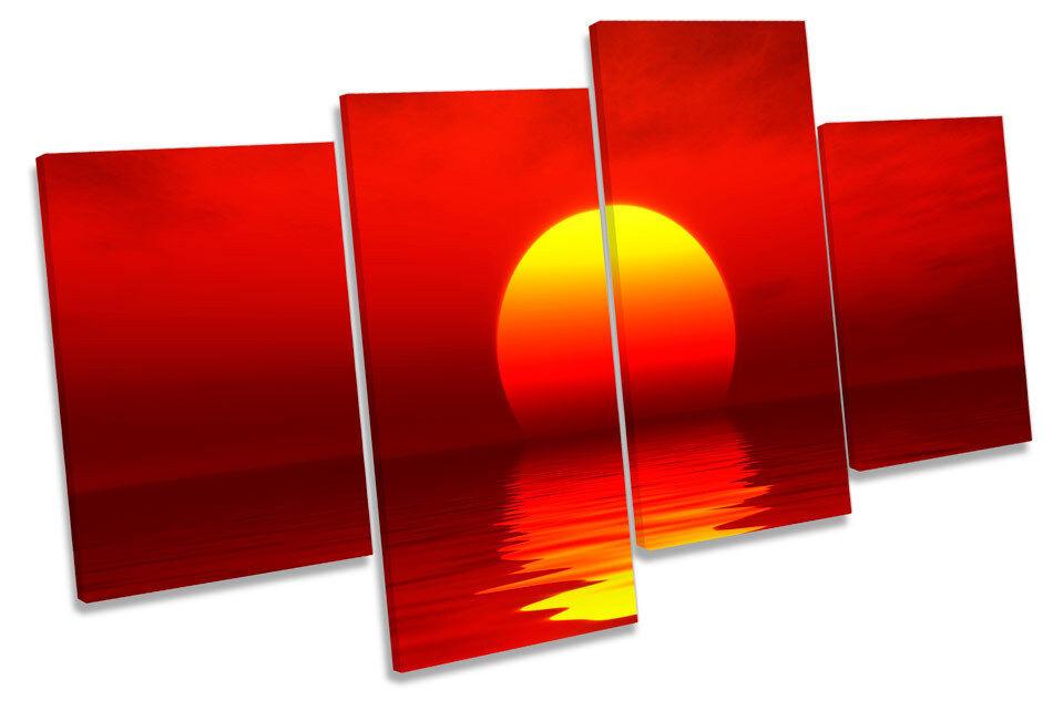 Rojo, ATARDECER EN arte PAISAJE Multi tela pared arte EN Foto Impresión 28a958