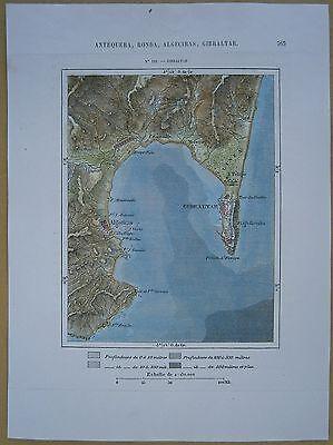 1875 Perron map GIBRALTAR & ALGECIRAS (#135)