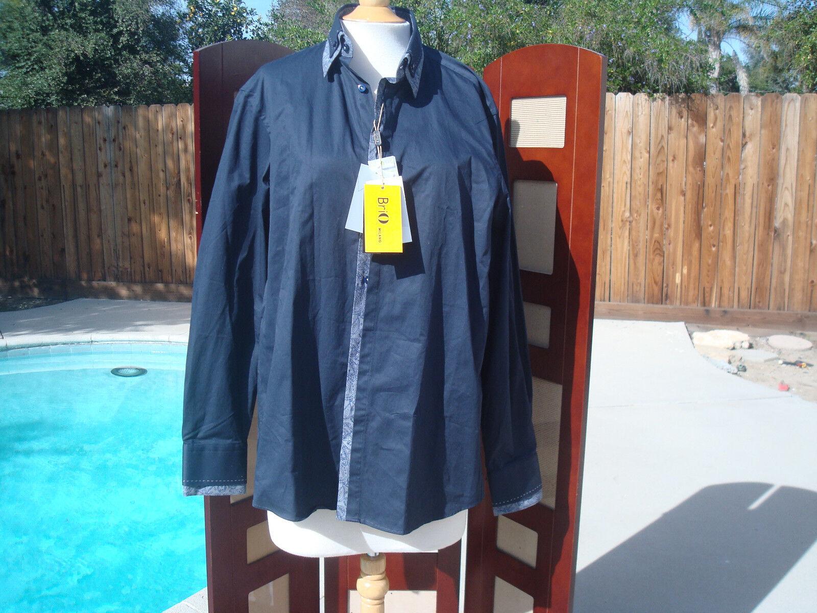 NWT Brio Milano Navy bluee 100% Cotton Long Sleeve Men Dress Shirt L