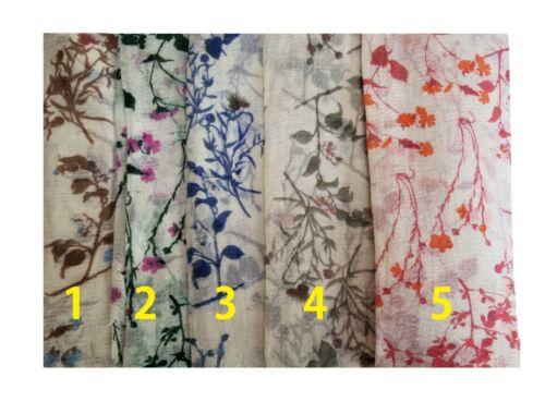 Plant /& Flower Crimp Printed Scarf Scarves Hijab Large Size