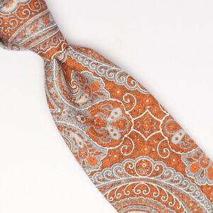 f0919e200cb4 Josiah France Mens Silk Necktie Burnt Orange Gray Paisley Print Made ...