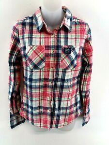 Camicia-da-donna-Superdry-S-Small-Rosa-Bianco-Blu-COTONE-CHECK-Classica-Camicia-Lumberjack