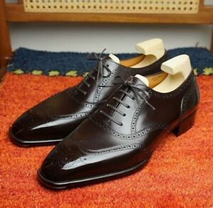 Handmade-Hommes-Noir-Bout-D-039-Aile-Chaussures-robe-Formelle-Cuir-Chaussures-Oxford
