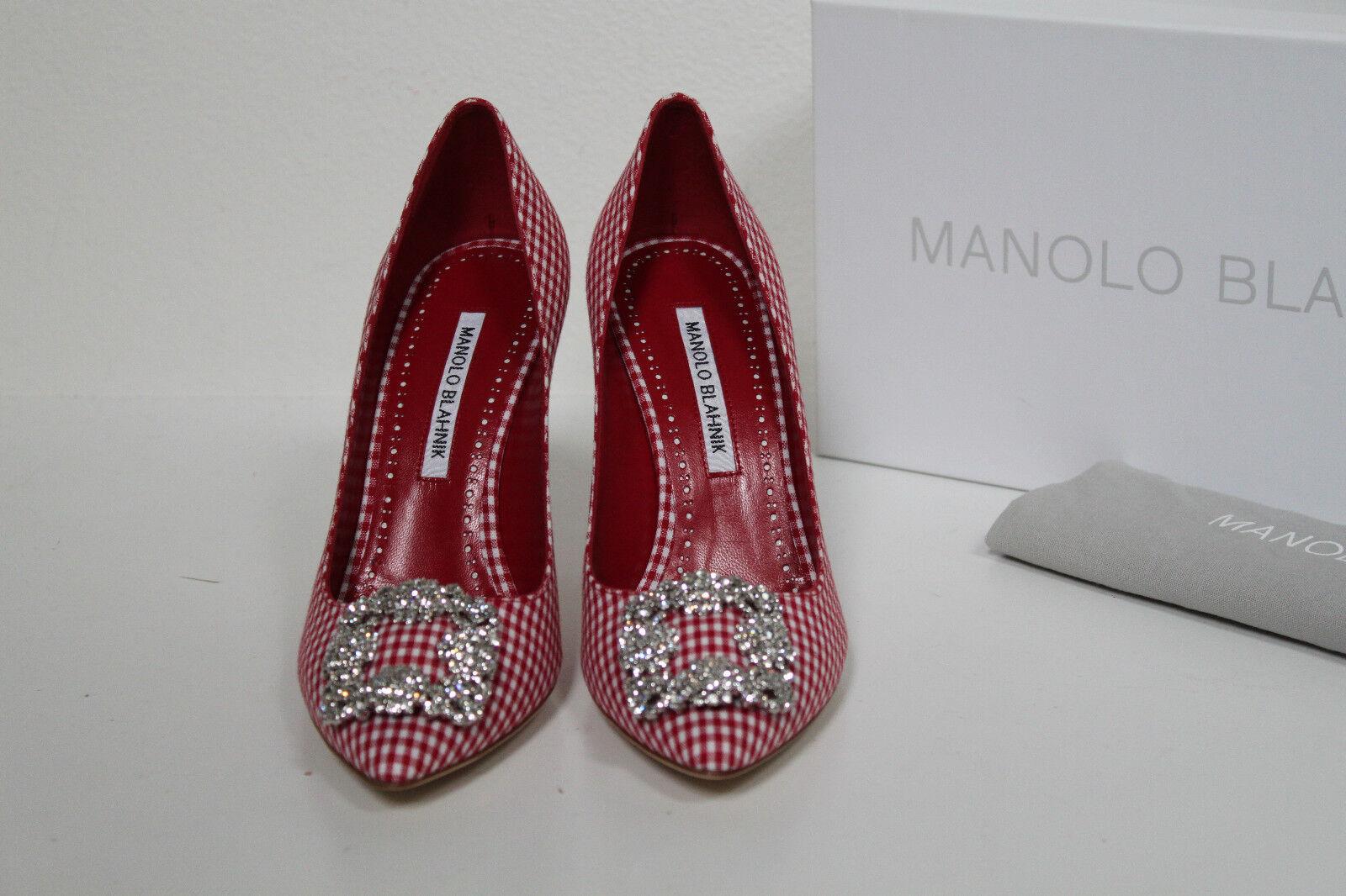 Sz 9   39 Manolo Blahnik Hangisi Gingham Crystal Brooch Jewel Pump shoes
