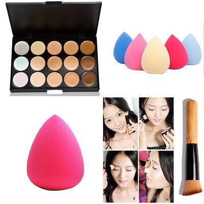 15Colors Makeup Contour Face Cream Concealer Palette+ Sponge Puff+ Powder Brush