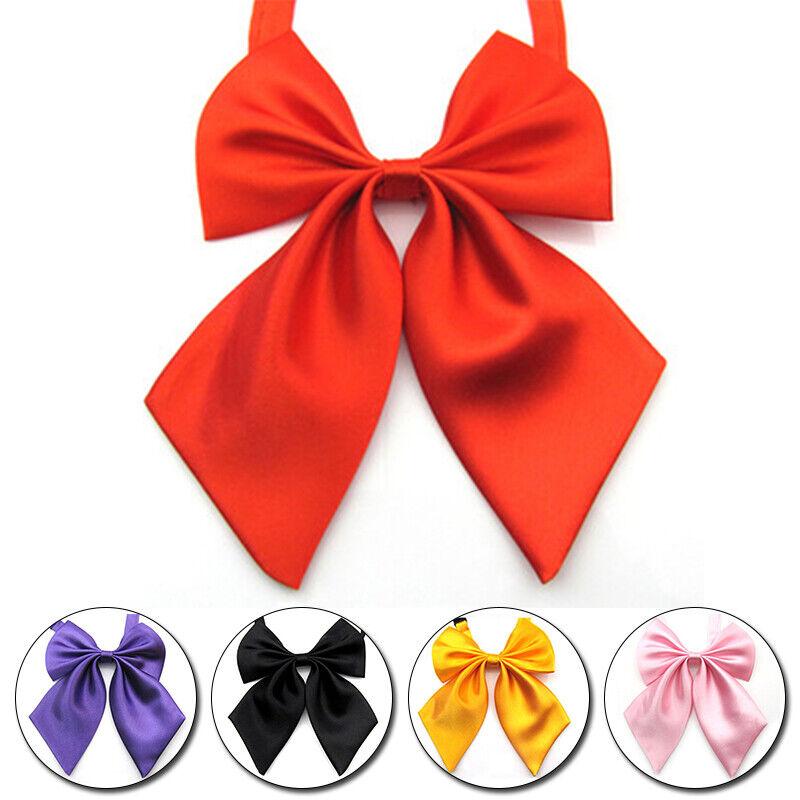 Womens Girls Satin Bow Tie Neckwear Party Banquet Solid Color Adjustable Necktie