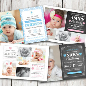 personalised photo christening baptism invitations boy or girl ebay