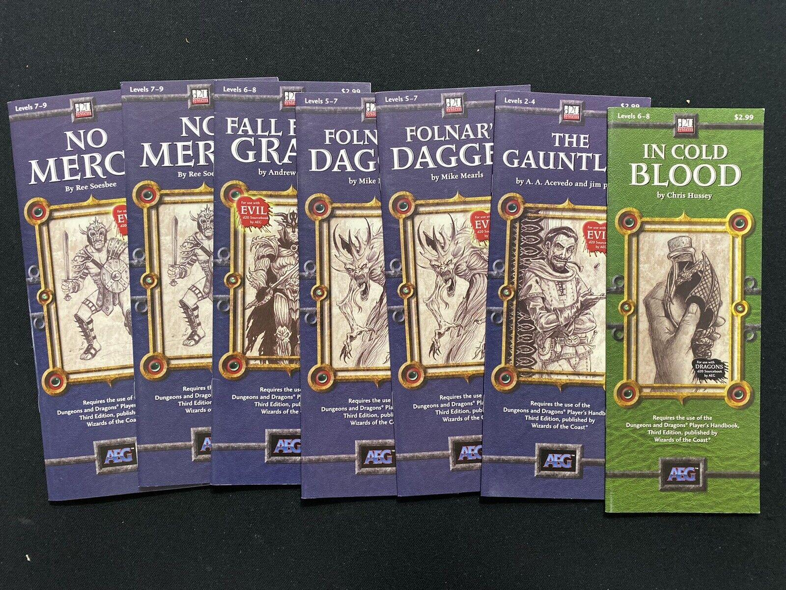 AEG d20 sistema Jugarbook Lote-a sangre fría, sin piedad, etc.