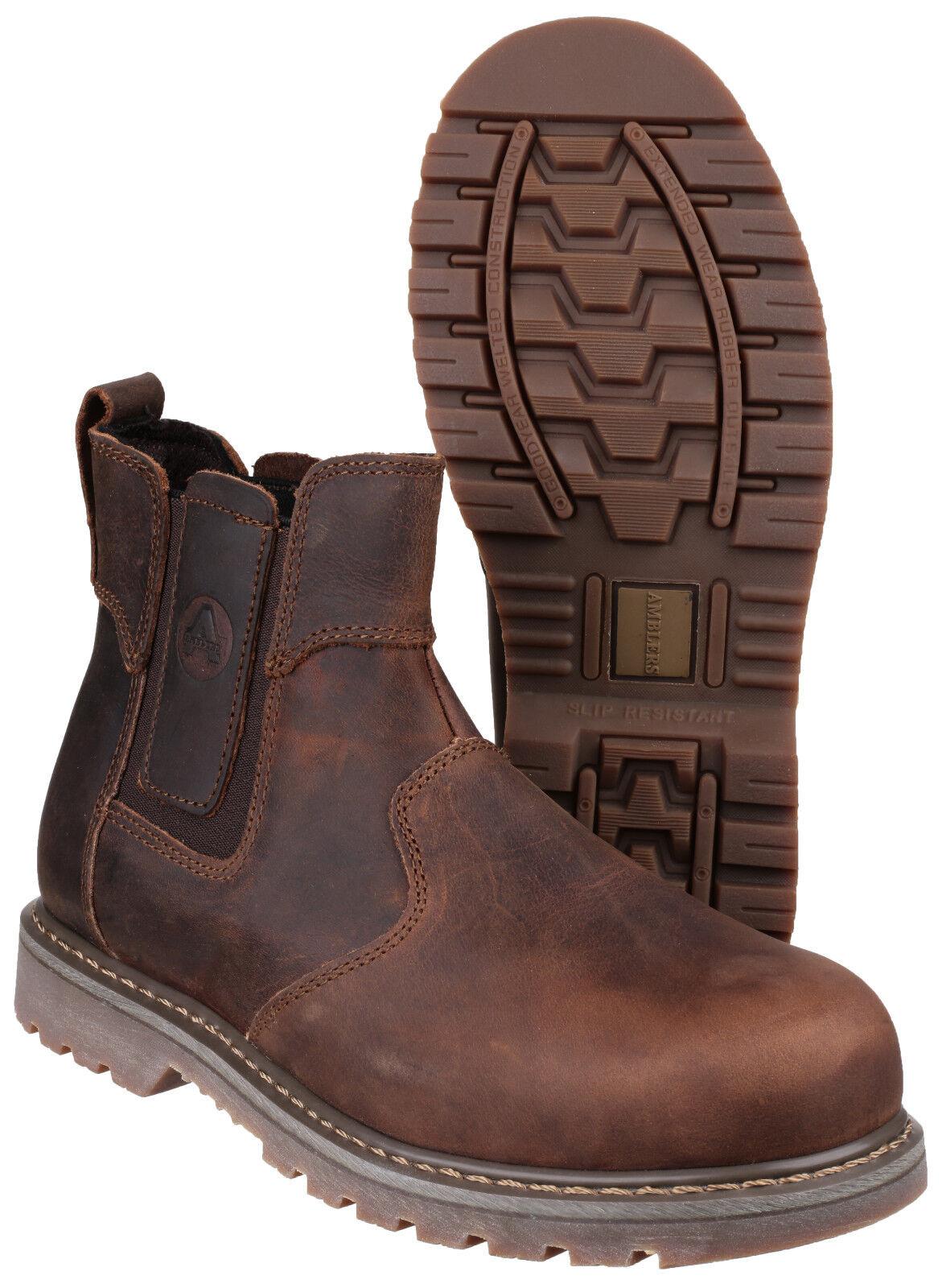 Amblers Acciaio FS165 la Sicurezza Dealer Pull On Boot Marrone Crazy Horse