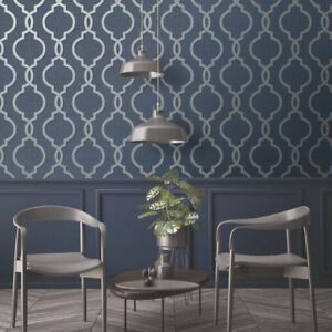 Image Is Loading Laticia Geometric Trellis Wallpaper Navy Silver Holden 65493