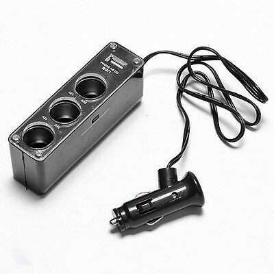 3 Way Auto Car Cigarette Lighter Socket Splitter USB DC 12V Charger Adapter UK04