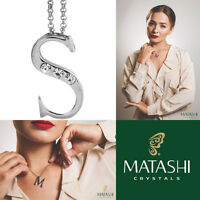 16 Rhodium Plated Necklace W/ s Initial & Crystals By Matashi on sale