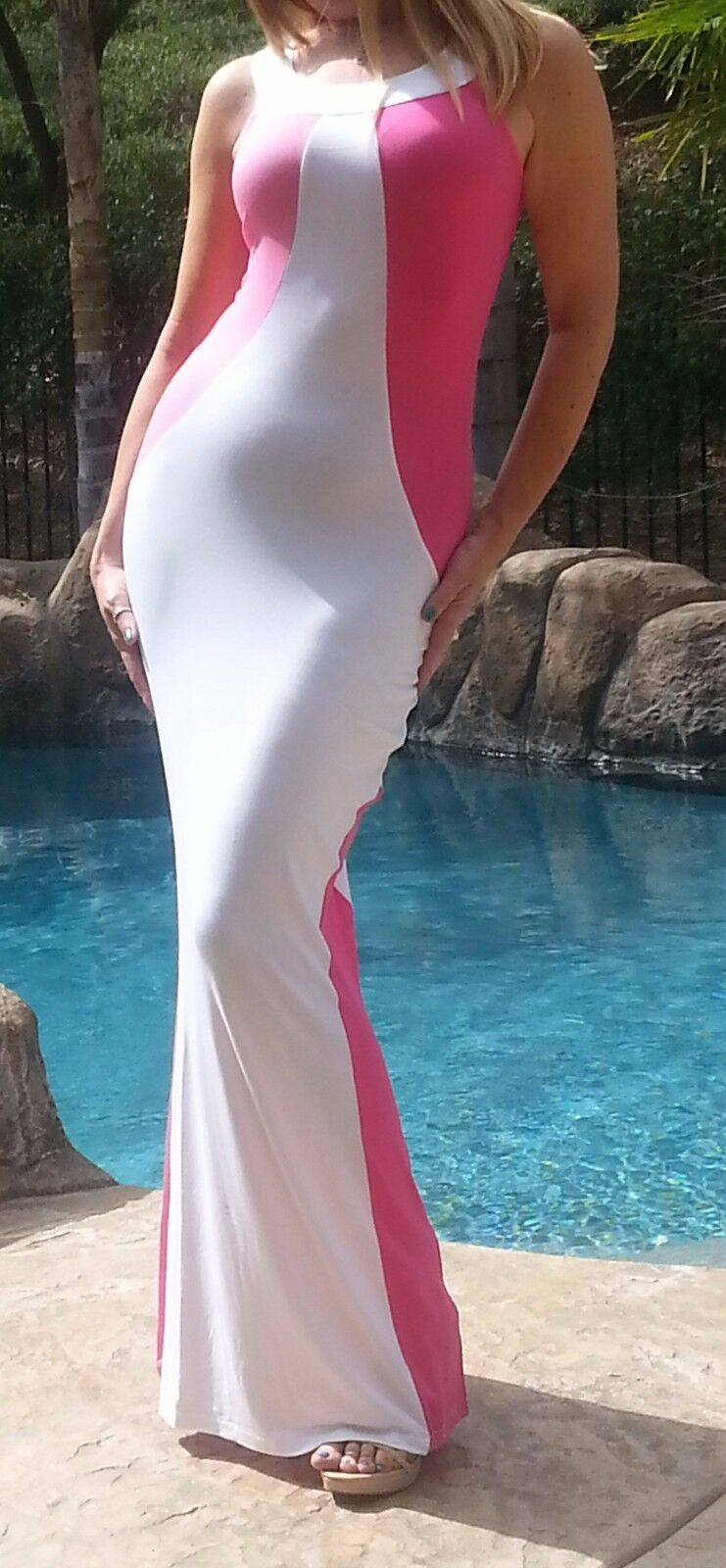 Maya Antonia-M SIZE-Elegant Sexy Slimming Pink-White Maxi Dress,Extra Long
